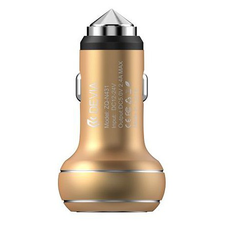 Car charger DEVIA Thor Dual USB champagne gold Emergency Hammer