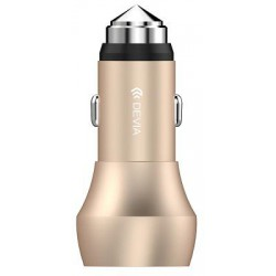 Car charger DEVIA Hammer Dual USB QC 3.0 champagne gold Emergency Hammer