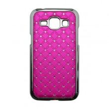 Plastový kamienkový obal Samsung Galaxy J1, ružový