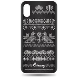 Vzorované gumené puzdro iPhone X čierne, vzor Čičmany