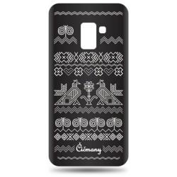Vzorované gumené puzdro Samsung Galaxy A8 2018 čierne, vzor Čičmany