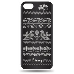 Vzorované gumené puzdro iPhone 5 čierne, vzor Čičmany