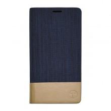 Knižkové bočné puzdro Samsung Galaxy A3, modré, kombinácia koža / textil