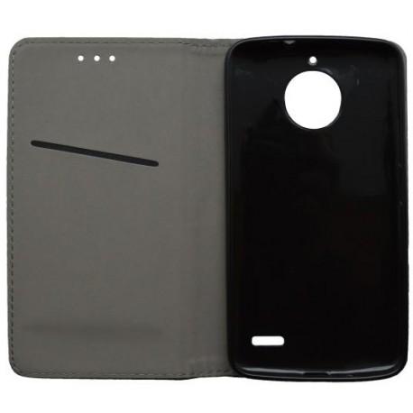 Knižkové puzdro Moto E4 čierne, vzorovaný povrch