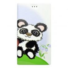 Vzorované knižkové puzdro Huawei P8 Lite, biele, vzor panda