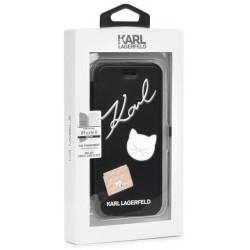KARL LAGERFELD kožené book púzdro na Apple iPhone 8, čierne