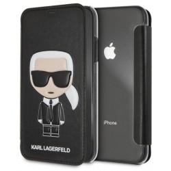 KARL LAGERFELD kožené book púzdro na Apple iPhone XR, čierne