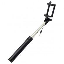 Čierna selfie tyč, 3.5mm jack, 78cm, čierne tlačidlo