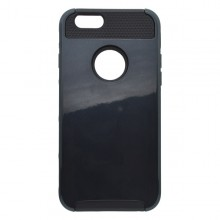 Plastové puzdro s gumenou vložkou iPhone 6, čierny plast čierna guma