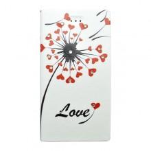 Bočné knižkové puzdro Huawei P8 Lite, biele, vzor Love