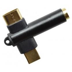 2v1 USB-C rozdvojka - USB-C + 3.5mm jack - čierna, pozlátený