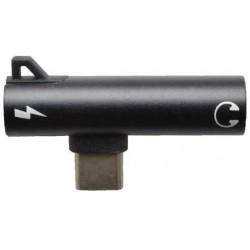 2v1 USB-C rozdvojka - USB-C + 3.5mm jack - čierna