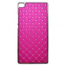 Plastový kamienkový obal Huawei P8 Lite, ružový
