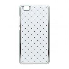 Plastový kamienkový obal Huawei P8 Lite, biely