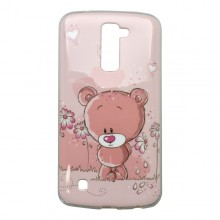 Vzorované gumené puzdro LG K10, ružové, vzor macík