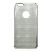 Gumené puzdro Plating pre iPhone 6S Plus, strieborné