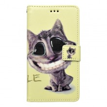 Vzorované knižkové puzdro Huawei Y5 II, béžové, vzor mačka