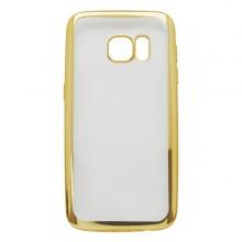 Priehľadné gumené puzdro Samsung Galaxy S7, zlatý rám
