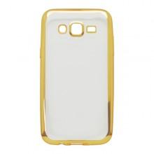 Priehľadné gumené puzdro Samsung Galaxy J5, zlatý rám