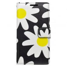 Vzorované knižkové puzdro Samsung Galaxy J5, čierne, vzor kvety