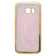 Gumené puzdro mramorované ružové Samsung Galaxy S7 Edge, zlatý rám