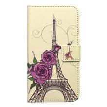 Vzorované knižkové puzdro Huawei Y6 Pro, béžová, Eiffelova veža