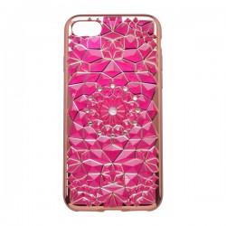 Vzorované gumené puzdro / obal iPhone 7, fialové, sklenený kvet