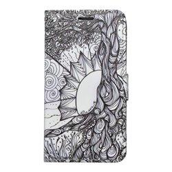Vzorované knižkové puzdro Samsung Galaxy J3 2016, čierno-biele