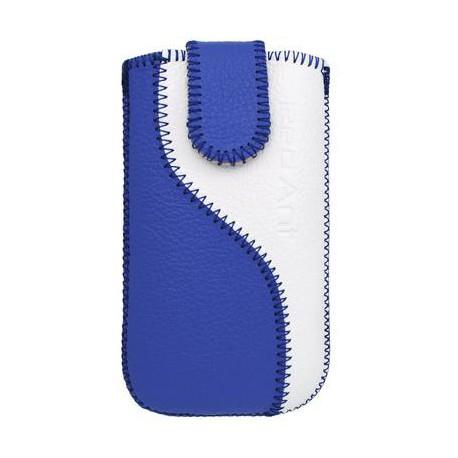 Kožené púzdro veľkosť Samsung i8190 Galaxy S3 Mini modrá/biela