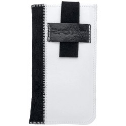 Kožené puzdro Rebel, XL, biele/čierne