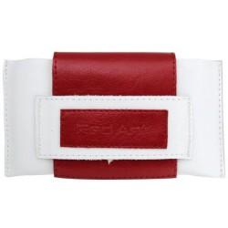 Kožené puzdro Rebel, XL,biela/červená