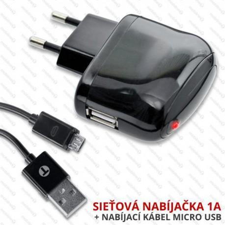 Univerzálna sieťová nabíjčka USB, čierna