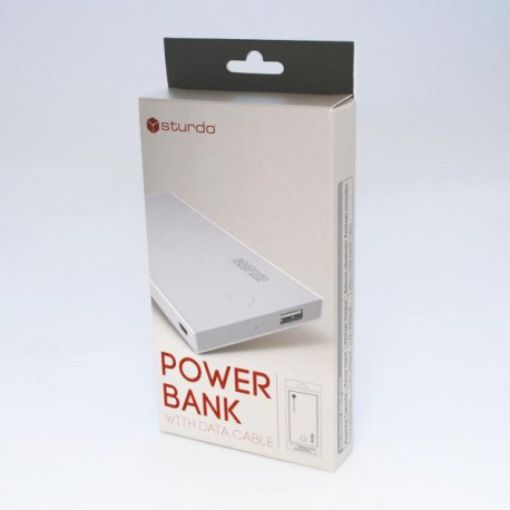 Sturdo power bank, 2A, 8000mAh, 1xUSB, sivý