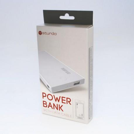 Sturdo power bank, 2A, 8000mAh, 1xUSB, sivý