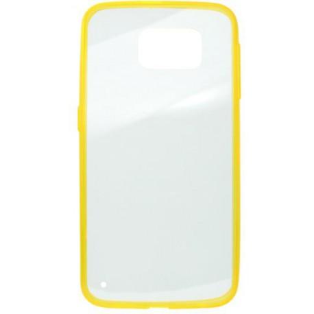 Gumené puzdro Samsung Galaxy S6, priehľadné, žltý rám