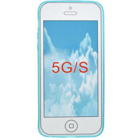 Gumené puzdro Slim iPhone 5, svetlomodré