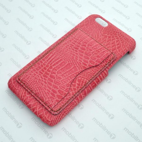 Plastové puzdro s koženkovým povrchom iPhone 6, ružové