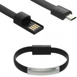 Nabíjací a dátový náramok micro USB, čierny