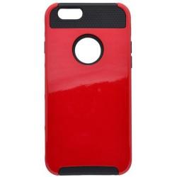Plastové puzdro s gumenou vložkou iPhone 6, červený plast + čierna guma