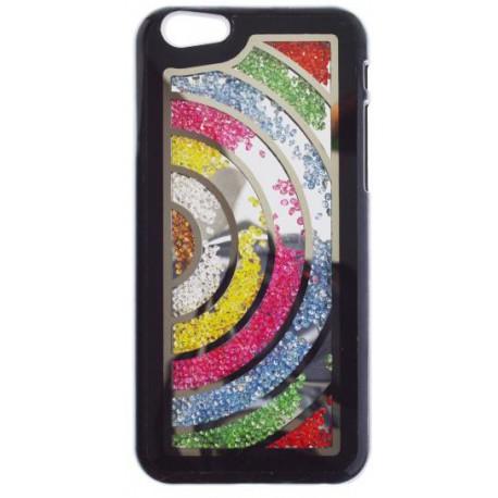 Plastové puzdro iPhone 6, čierne, farebné kamienky, vzor polkruh