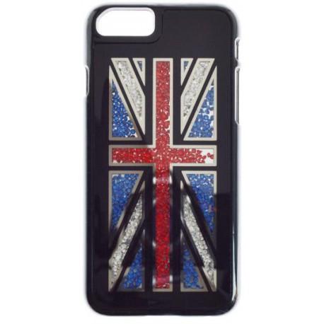 Plastové puzdro iPhone 6, čierne, farebné kamienky, vzor britská vlajka