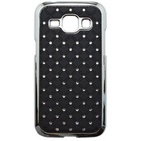 Plastový kamienkový obal Samsung Galaxy J1, čierny