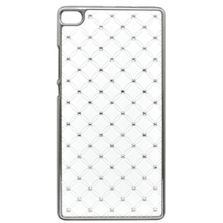 Plastové kamienkové puzdro Huawei Ascend P8, biele