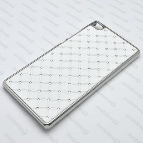 Plastové kamienkové puzdro Huawei P8, biele