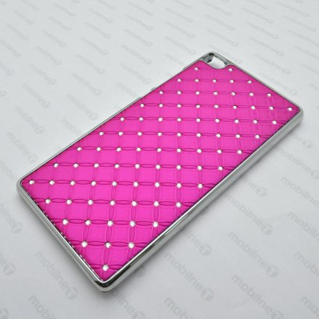Plastové kamienkové puzdro Huawei P8, ružové