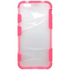Plastové priehľadné puzdro iPhone 6S, priehľadné, ružový rám
