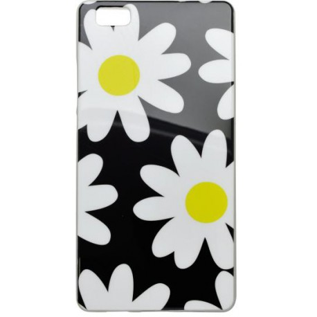 Vzorované gumené puzdro Huawei P8 Lite čierne, vzor biele kvety