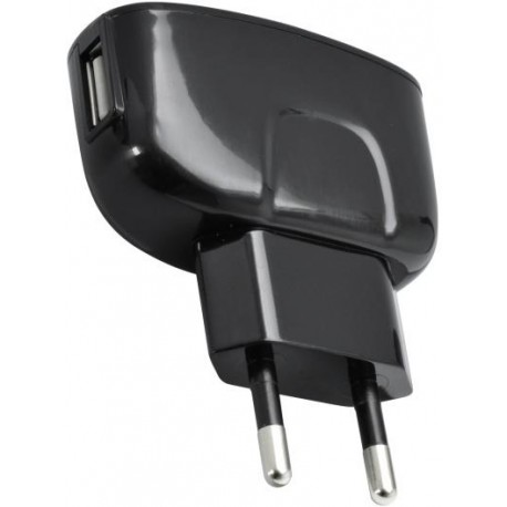 Čierny sieťový nabíjací adaptér 1xUSB, 2A