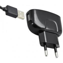 Čierna sieťová nabíjačka 1xUSB - adaptér a kábel micro USB, 2A