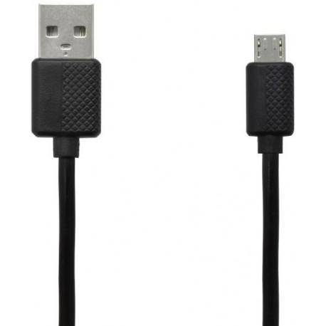 Čierna sieťová nabíjačka 1xUSB - adaptér a kábel micro USB, 2A, 1m
